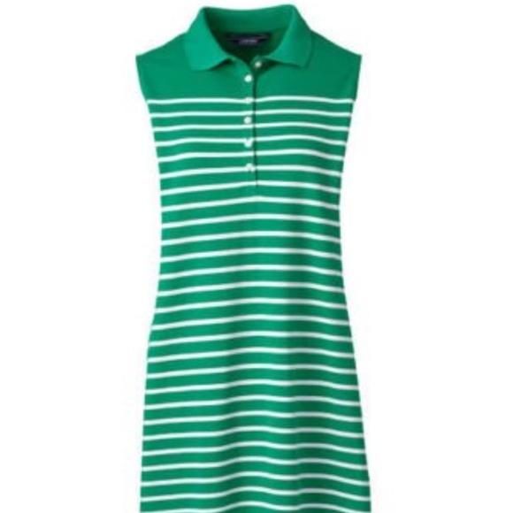 Lands End Women/'s Sleeveless Polo Dress Rose Petal Multi Stripe New